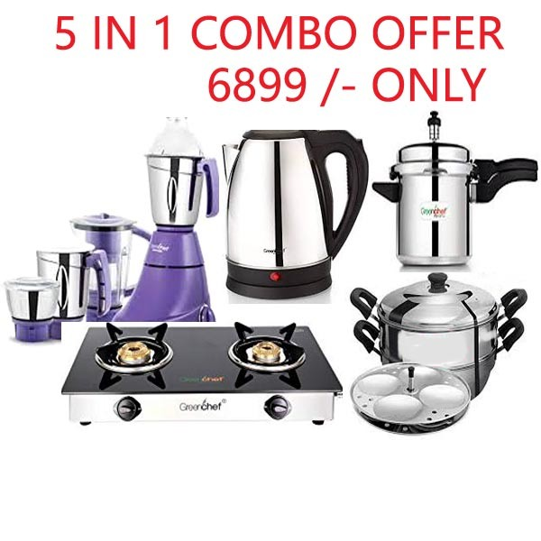 5 IN 1 COMBO (GLASS TOP + PRESSURE COOKER + MIXER GRINDER +IDLY CUM STEAMER +ELECTRIC KETTLE)