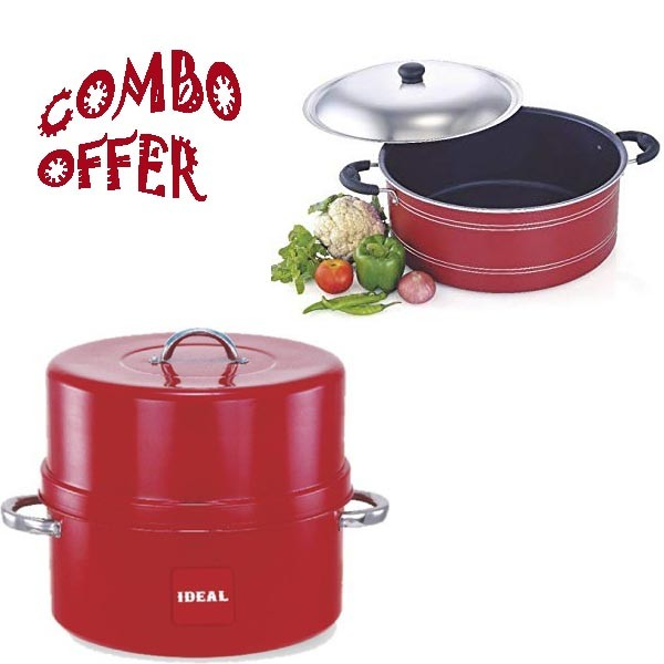 IDEAL ALUMINIUM CHOODARAPETTI 1.5KG + NON STICK BIRIYANI POT 300MM