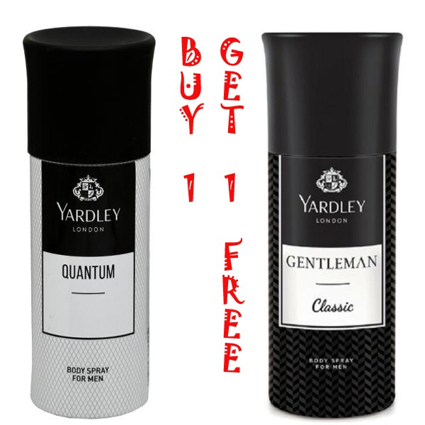 YARDLEY LONDON GENTLEMAN CLASSIC BODY SPRAY+YARDLEY QUANTUM(BUY 1 GET 1 FREE)