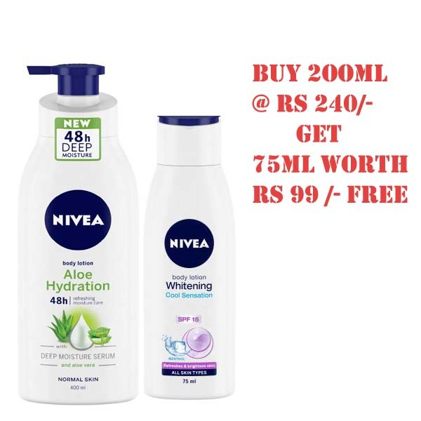 NIVEA Aloe Hydration Body Lotion, 200ml, with deep moisture serum and aloe vera for normal skin+WHITENING COOL SENSATION BODY LOTION (75 ml) FREE