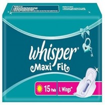 Whisper Maxi Fit L Wings Sanitary Pad (Pack of 15)