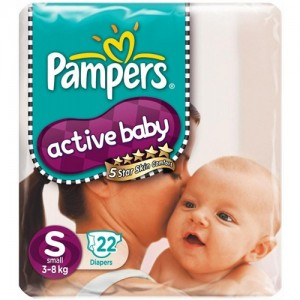 PAMPERS ACTIVE BABY 22 Diapers (Small - 3 to 8 kg)