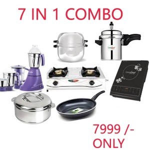 7 IN 1 COMBO(GASS STOVE 2BR , MIXER GRINDER , PRESSURE COOKER , CHOODARAPETTY , FRY PAN , CASSEROLE , INDUCTION COOKTOP)