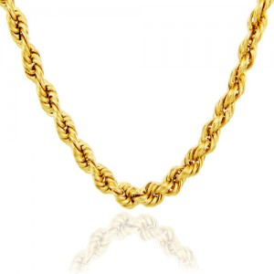 Xoonic Gold Plated Rope chain , 26+ Inches long , 3 mm thick Gold-plated Plated Brass Chain