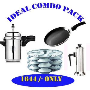 IDEAL COMBO PACK ( 5L COOKER + PUTTUMAKER+ DOSA TAWA + 4 PLATE IDLY STAND)