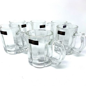 GLORECA Deli Glassware - Mulipurpose Beer Mug With Handle Set of 6 Glasses