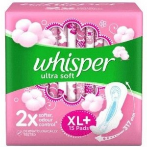 Whisper Ultra Soft XL Plus Wings Sanitary Pad (Pack of 15)