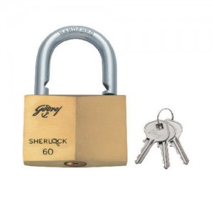 GODREJ SHERLOCK BLISTER LOCK 70 MM -GOLD COLOUR