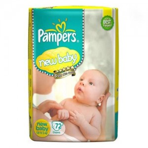 PAMPERS NEW BABY 72 DIAPERS(SMALL UP TO 5KG )