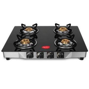 Pigeon 4 Burner Manual Gas Stove (Crystal Black)