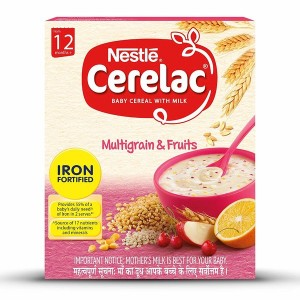 Nestle CERELAC Fortified Baby Cereal with Milk, Multigrain & Fruits – From 12 Months, 300g BIB Pack