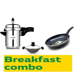 BREAKFAST COMBO OFFER GREENCHEF( EVOKE PREASSURE 3L COOKER+APPACHETTY +FRY PAN 200MM)