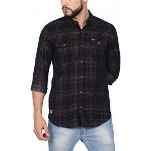 NORTH REPUBLIC Men's Green & Red Corduroy Checks Cotton Full Sleeves Casual Shirt