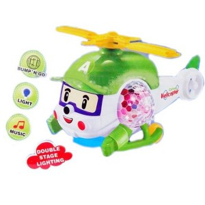 Cartoon Helicopter Toy with Stage Lighting & Music (Multicolor)