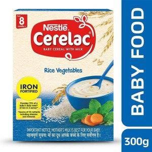 Nestle Cerelac Baby Cereal with Milk, Rice Vegetables – From 8 Months, 300g Pack