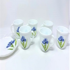 LA Opala Iris Garden Tea & Coffee Cup & Saucers 160 ML Set Of 6, ( Royal Iris) Ceramic (White, Pack of 6)