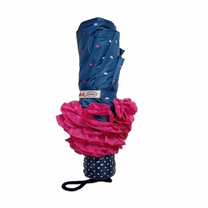 Popy 3 fold Ladies Umbrella with Frill and dots Assorted