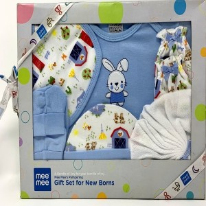 mee mee Gift Set for New Born's(6 Pieces, Blue)