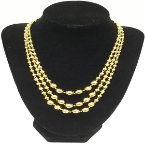 gold plated Pearl 3 Layer Chunky Necklace