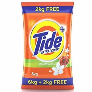 TIDE Plus Extra Power Detergent Washing Powder - 6 kg (Jasmine and Rose) with Free Detergent Powder - 2 kg 8 kg Washing Powder