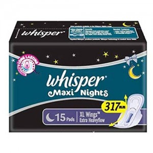 Whisper Maxi Nights XL Wings Sanitary Pad (Pack of 15)