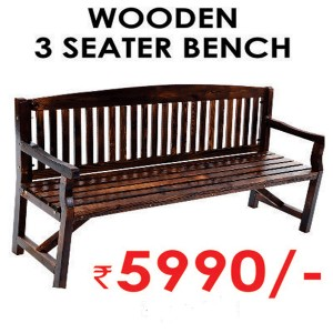 Wooden 3 Seater Bench