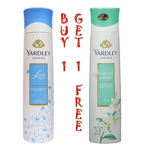 YARDLEY LONDON IMPERIAL JASMINE BODY SPRAY +YARDLEY LACE(BUY 1 GET 1 FREE)