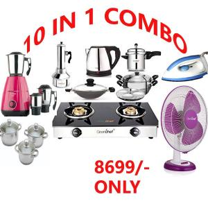 10 IN 1 COMBO ( GLASS TOP 2BR + MIXER GRINDER+TABLE FAN+PRESSURE COOKER+IDLY CUM MULTI STEAMER+APPACHATTY+PUTTUKUDAM+ELECTRIC KETTLE+IRON BOX+3 PIECE GIFT SET_