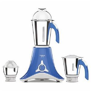 Vidiem Plastic Vstar Sky 600W Mixer Grinder with 3 Self Locking Jars (White and Blue)